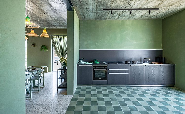 bulthaup kitchen dark oak in green clay house